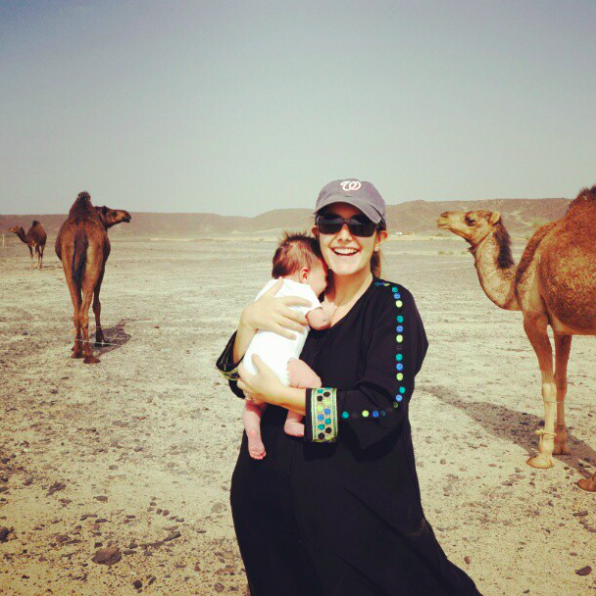camels and baby